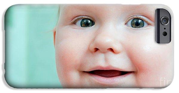 Innocence iPhone Cases - Cute happy baby smiling in a bathroom iPhone Case by Michal Bednarek