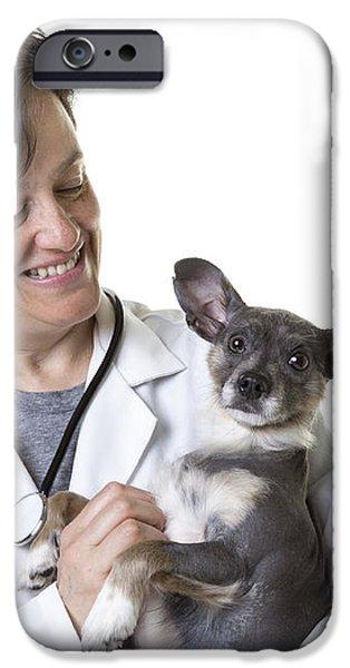Cute little puppy with Vet iPhone Case by Edward Fielding