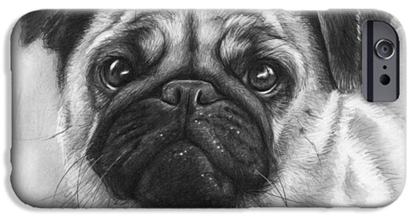 Black Portrait Drawings iPhone Cases - Cute Pug iPhone Case by Olga Shvartsur