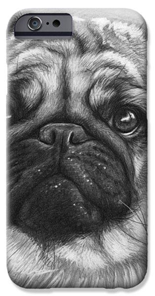 Cute Pug iPhone Case by Olga Shvartsur