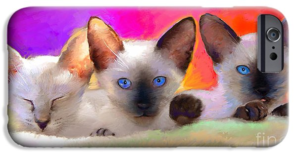 Cat Drawings iPhone Cases - Cute Siamese Kittens cats  iPhone Case by Svetlana Novikova