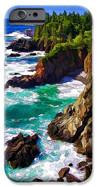 Coastal Decor Digital Art iPhone Cases - Cutler Coast White Water - Painterly iPhone Case by Bill Caldwell -        ABeautifulSky Photography