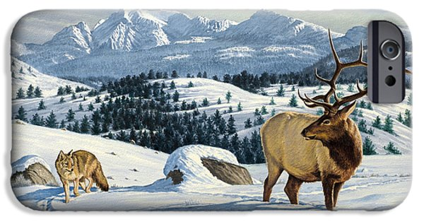 Coyote iPhone Cases - Cutoff Mountain -  Elk and Coyote   iPhone Case by Paul Krapf