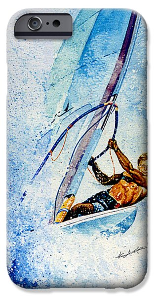 Sail Board iPhone Cases - Cutting The Surf iPhone Case by Hanne Lore Koehler