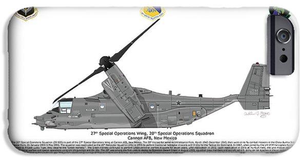 Iraq Prints iPhone Cases - CV-22B Osprey 20th SOS iPhone Case by Arthur Eggers