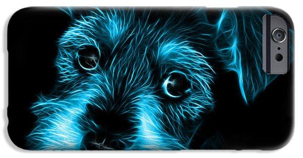 Puppy Digital Art iPhone Cases - Cyan Salt and Pepper Schnauzer Puppy 7206 F iPhone Case by James Ahn