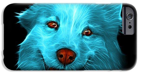 Mixed Labrador Retriever Paintings iPhone Cases - Cyan Siberian Husky Mix Dog Pop Art - 5060 BB iPhone Case by James Ahn