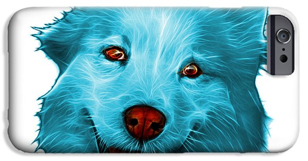 Mixed Labrador Retriever Paintings iPhone Cases - Cyan Siberian Husky Mix Dog Pop Art - 5060 WB iPhone Case by James Ahn