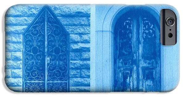 Printmaking iPhone Cases - Cyanotype Crypt Doors iPhone Case by Jane Linders