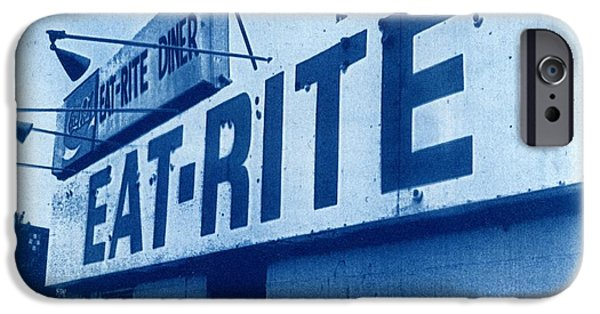 Printmaking iPhone Cases - Cyanotype Eat Rite Diner iPhone Case by Jane Linders