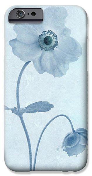 Cyanotype Windflowers iPhone Case by John Edwards