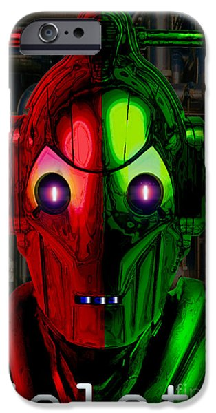 Mascots Mixed Media iPhone Cases - Cyberman iPhone Case by Neil Finnemore