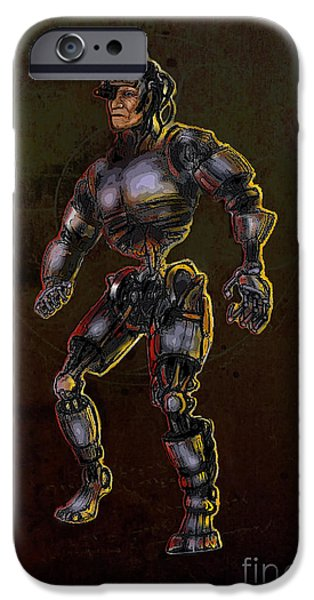 Weapon iPhone Cases - Old Man Cyborg iPhone Case by Michelle Rene Goodhew