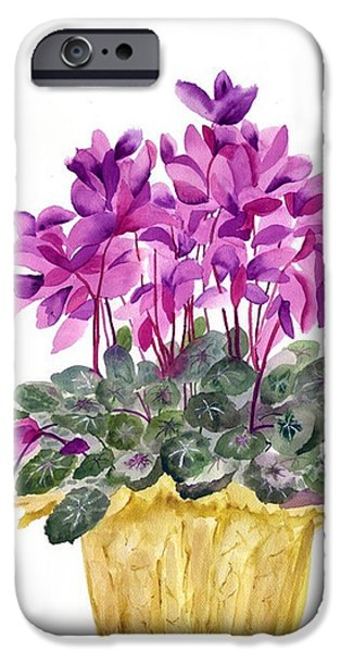 Tasteful Art iPhone Cases - Cyclamen iPhone Case by Neela Pushparaj