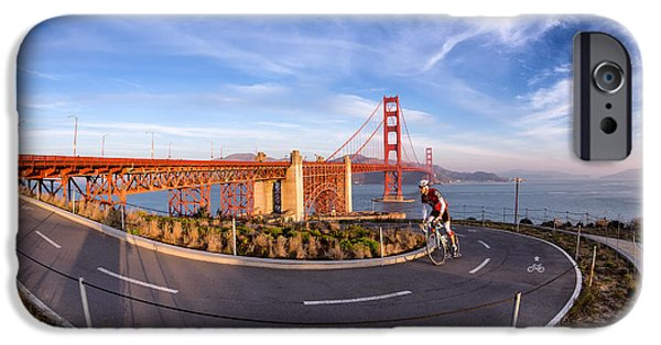 Bay Bridge iPhone Cases - Cyclist and Golden Gate Bridge iPhone Case by Jerry Fornarotto