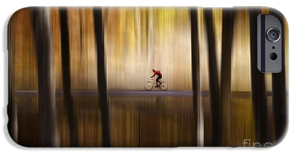 Merging iPhone Cases - Cyclist in the forest iPhone Case by Yuri Santin