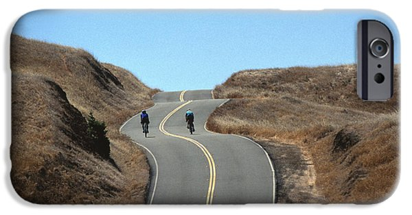 Asphalt iPhone Cases - Cyclists in Marin iPhone Case by Chris Selby