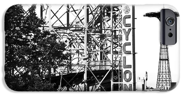 Monotone iPhone Cases - Cyclone at Coney Island iPhone Case by John Rizzuto