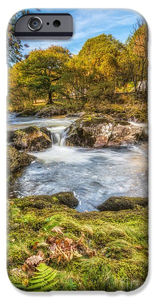 Autumn Digital iPhone Cases - Cyfyng Falls iPhone Case by Adrian Evans