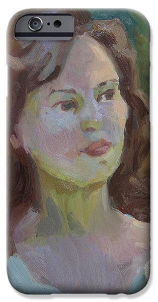 Young Paintings iPhone Cases - Cynthia iPhone Case by Diane McClary