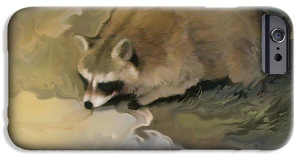 Raccoon Digital Art iPhone Cases - Cypress Raccoon iPhone Case by Curtis Chapline