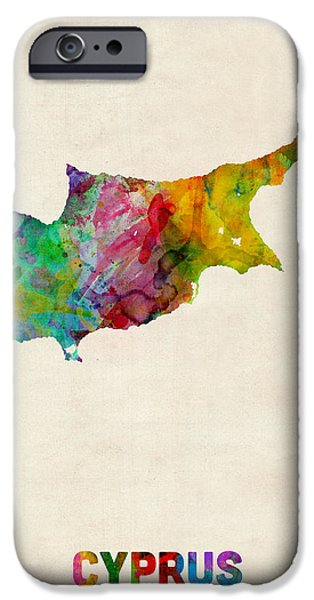 Abstract Map Digital Art iPhone Cases - Cyprus Watercolor Map iPhone Case by Michael Tompsett