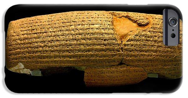 Iraq iPhone Cases - Cyrus Cylinder iPhone Case by Babak Tafreshi