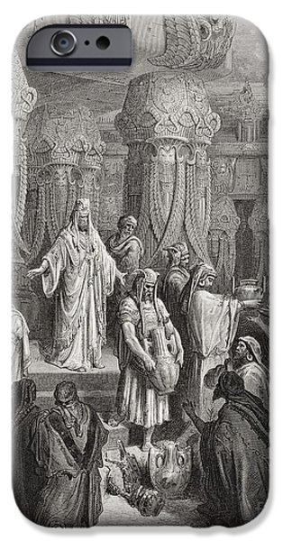 Religion Drawings iPhone Cases - Cyrus Restoring the Vessels of the Temple iPhone Case by Gustave Dore