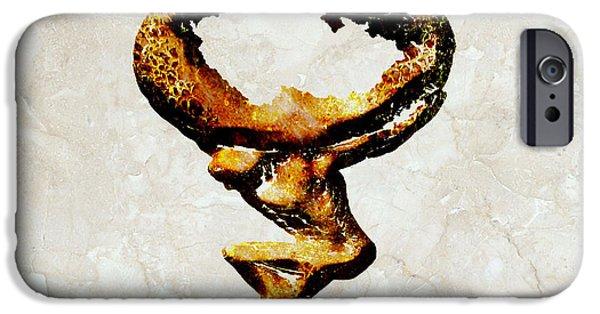 Czech Republic Digital iPhone Cases - Czech Republic Gold Statue iPhone Case by Brian Reaves