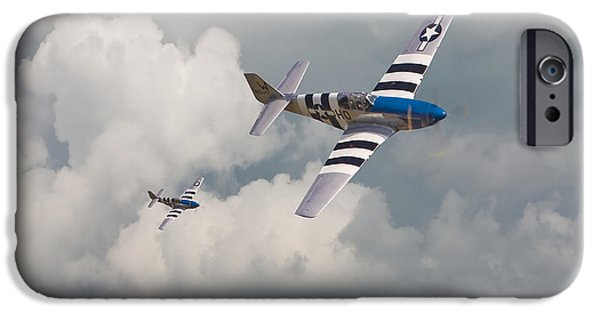 Classic Aircraft iPhone Cases - D-Day Mustangs iPhone Case by Pat Speirs