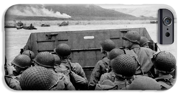 World Wars iPhone Cases - D-Day Soldiers In A Higgins Boat  iPhone Case by War Is Hell Store