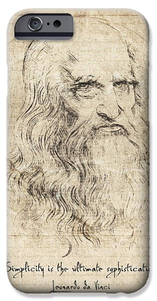 Simplicity Drawings iPhone Cases - Da Vinci Quote iPhone Case by Taylan Soyturk