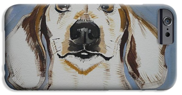 Dog Head iPhone Cases - Dachshund, 2011 Oil On Paper iPhone Case by Sally Muir