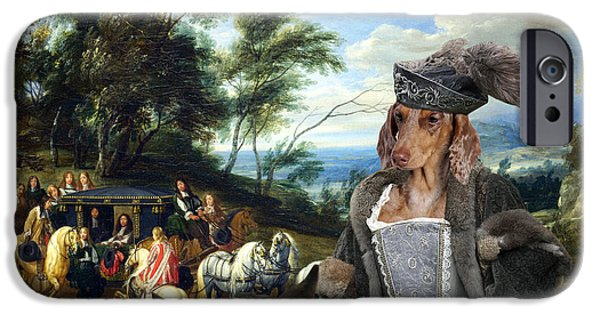 Dachshund Art iPhone Cases - Dachshund Art - Philippe Francois dArenberg meeting Troops iPhone Case by Sandra Sij