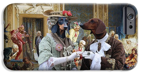 Dachshund Art iPhone Cases - Dachshund Art - Royal Party iPhone Case by Sandra Sij