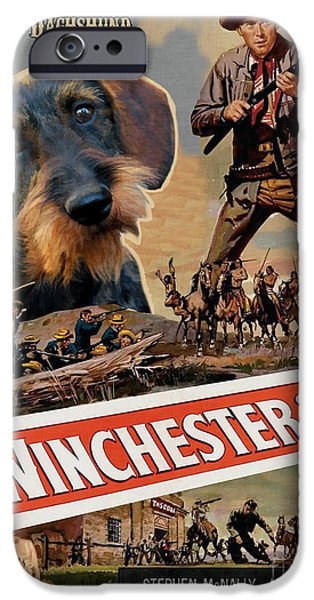 Dachshund Art iPhone Cases - Dachshund Art Canvas Print - Winchester 73 Movie Poster iPhone Case by Sandra Sij