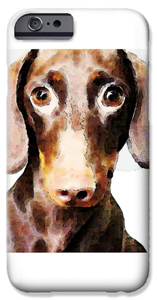 Buy Dog Art iPhone Cases - Dachshund Art - Roxie Doxie iPhone Case by Sharon Cummings