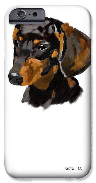 Dachshund Digital Art iPhone Cases - Dachshund iPhone Case by Bob Donner