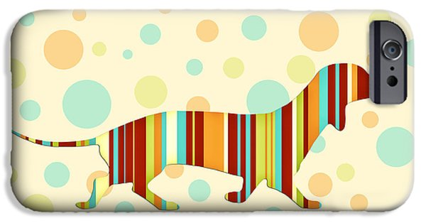 Dogs Digital Art iPhone Cases - Dachshund Fun Colorful Abstract iPhone Case by Natalie Kinnear