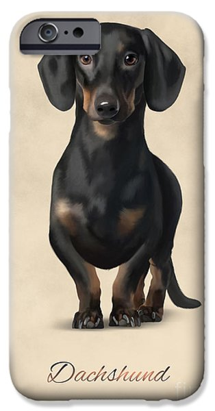 Puppies Digital iPhone Cases - Dachshund iPhone Case by Gosia K