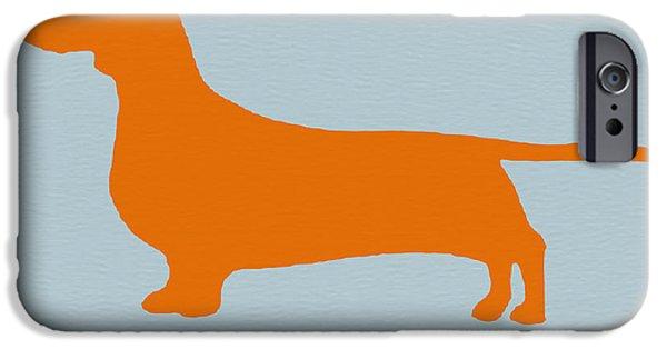 Dachshund Art iPhone Cases - Dachshund Orange iPhone Case by Naxart Studio