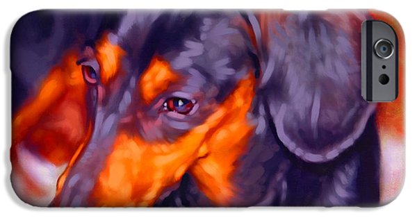 Cute Puppy Pictures Digital Art iPhone Cases - Dachshund Portrait iPhone Case by Iain McDonald