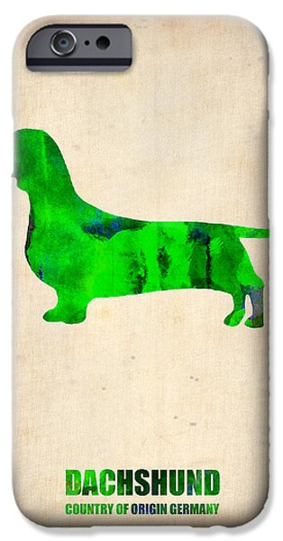 Puppy Digital Art iPhone Cases - Dachshund Poster 1 iPhone Case by Naxart Studio