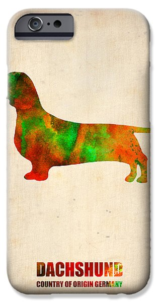 Puppy Digital Art iPhone Cases - Dachshund Poster 2 iPhone Case by Naxart Studio