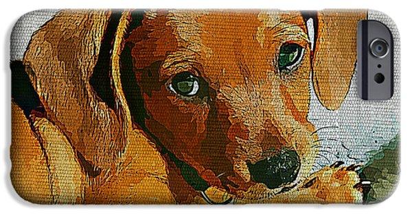 Dachshund Digital Art iPhone Cases - Dachshund Puppy iPhone Case by Linda Zielinski