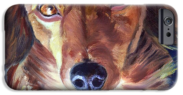 Dachshund Art iPhone Cases - Dachshund Sparkle Eyes iPhone Case by Lyn Cook