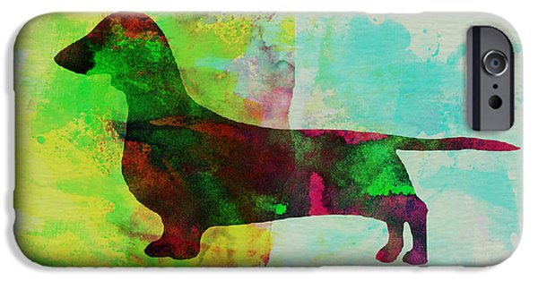Pets Art iPhone Cases - Dachshund Watercolor iPhone Case by Naxart Studio