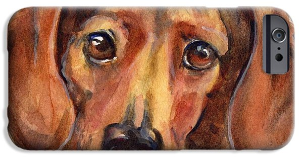 Dachshund Art iPhone Cases - Dachshund watercolor iPhone Case by Maria