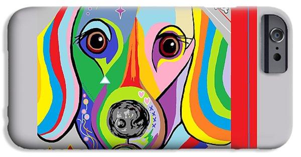 Puppies Digital iPhone Cases - Dachsund iPhone Case by Eloise Schneider