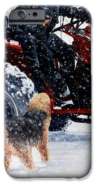 Dogs In Snow. Paintings iPhone Cases - Dad and Cooper-Best of Show iPhone Case by Kimberly Shinn